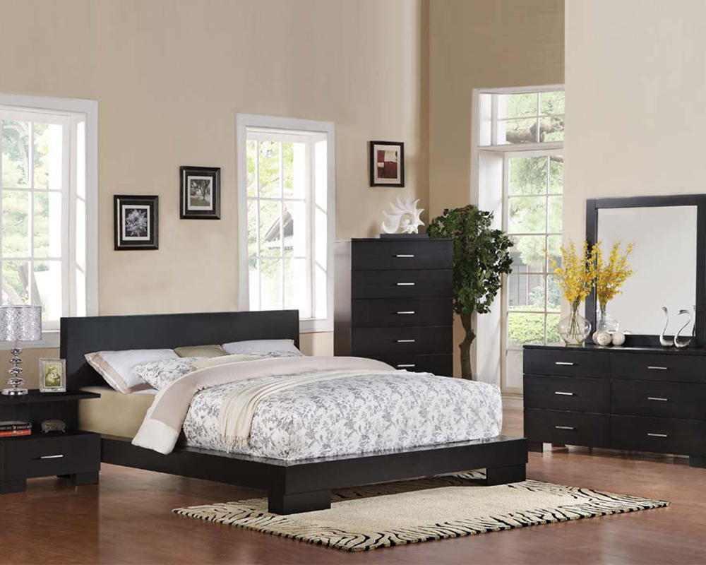 Contemporary bedroom set london black by acme furniture for Modern bedroom sets