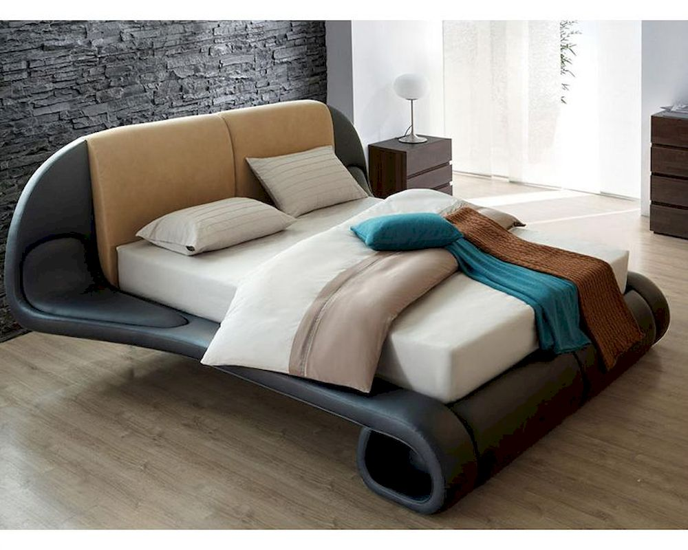 Made In Italy Leather Luxury Contemporary Furniture Set: Contemporary Beige/ Blue Leather Bed Made In Italy 44B120BD