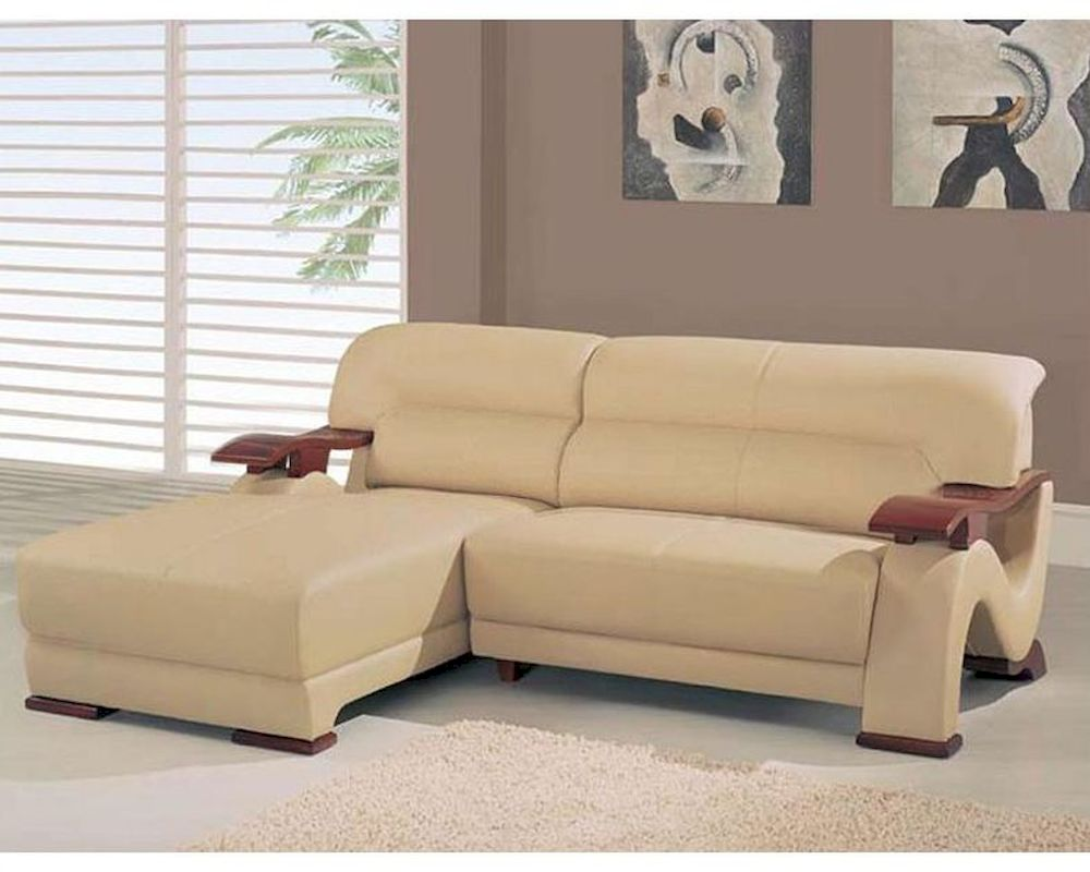 Contemporary Beige Bonded Leather Sectional Sofa 44L6086