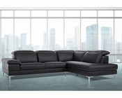 Contemporary Black Eco-Leather Sectional Sofa 44L5991