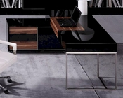 Contemporary Black Gloss and Walnut Office Desk w/ Side Cabinet 44F101