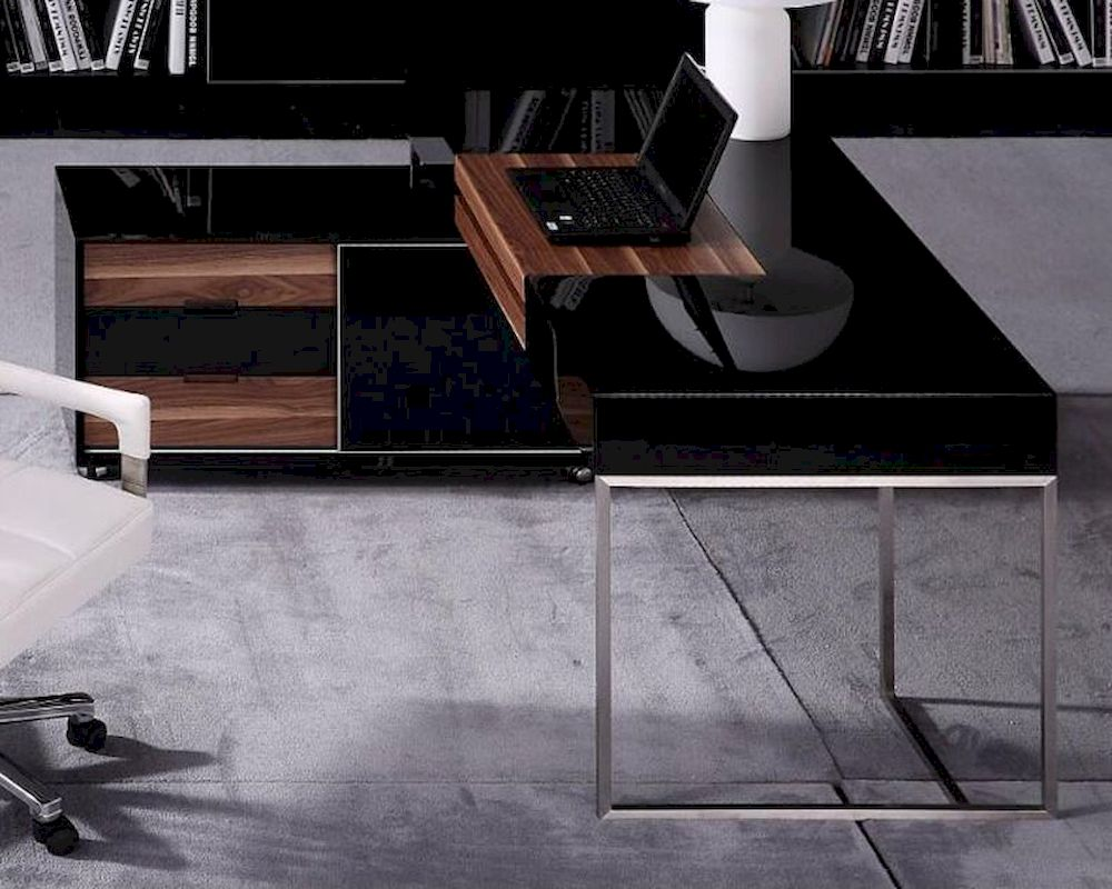 . contemporary black gloss and walnut office desk w side cabinet f