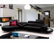 Contemporary Black Leather Sectional Sofa 44L5971