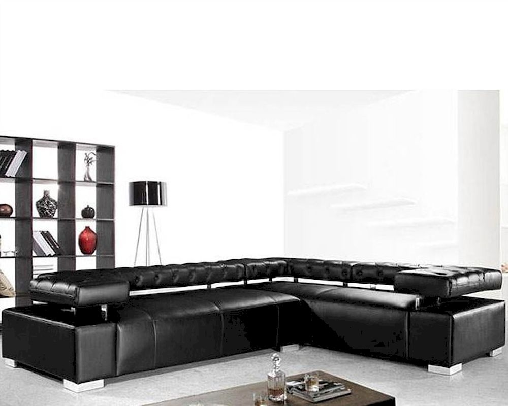Contemporary black leather sectional sofa set 44l0597 for Contemporary leather sofa