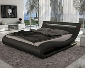 Contemporary Black Leatherette Bed w/ Headboard Lights 44B126BD