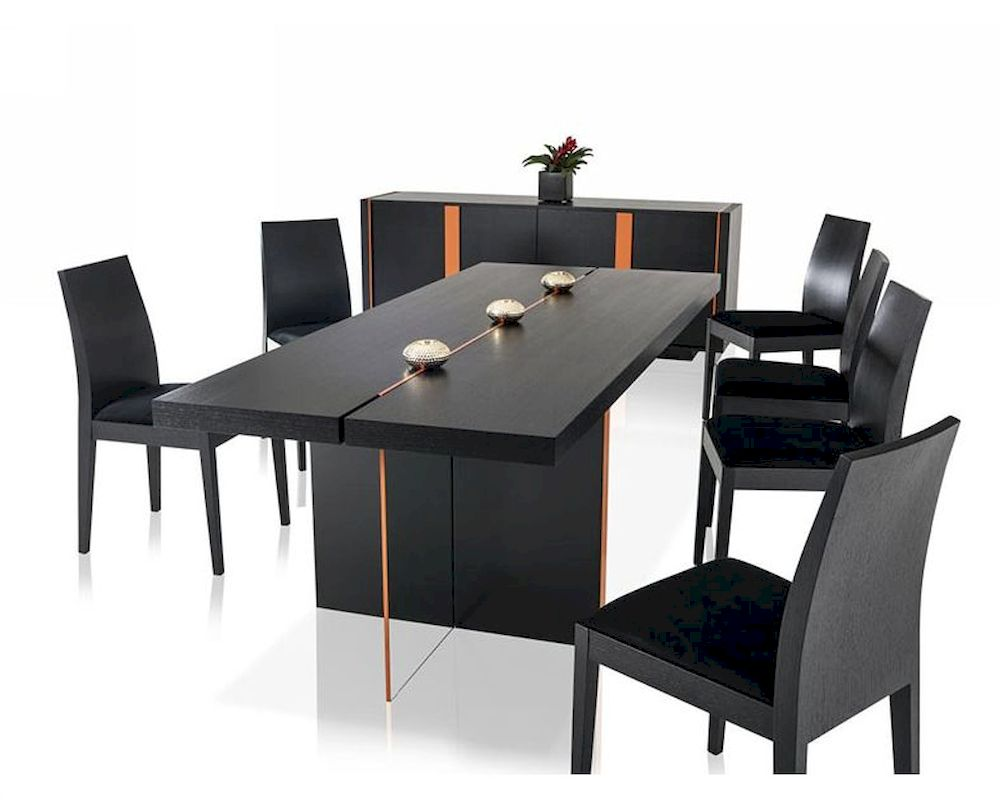 Contemporary black oak dining set w floating table for Contemporary dining set