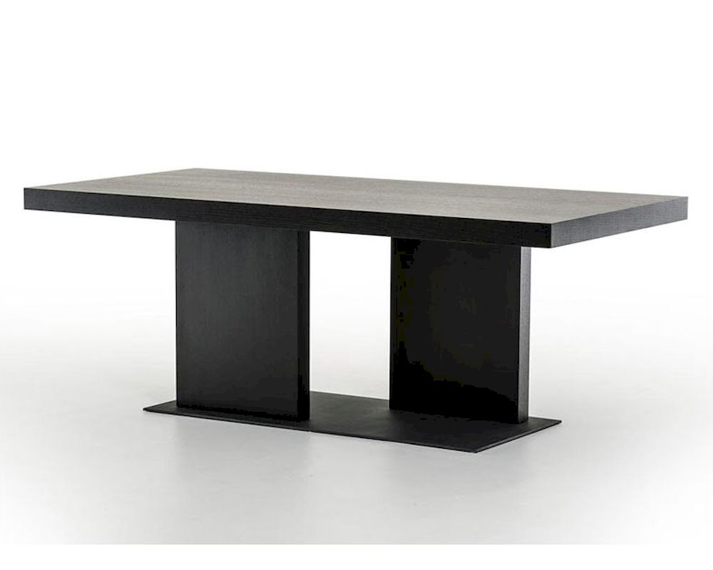 Contemporary black oak dining table 44d190t blk for Modern black dining table