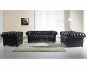 Contemporary Black Tufted Leather Sofa Set 44LYIA34