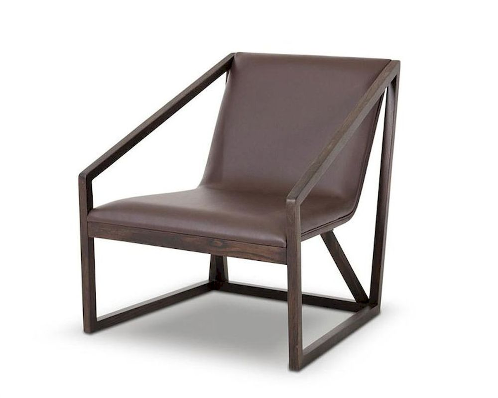 Contemporary brown eco leather lounge chair 44lg511y for Modern leather club chair