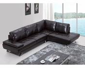Contemporary Brown Leather Sectional Sofa w/ Audio System 44L5940