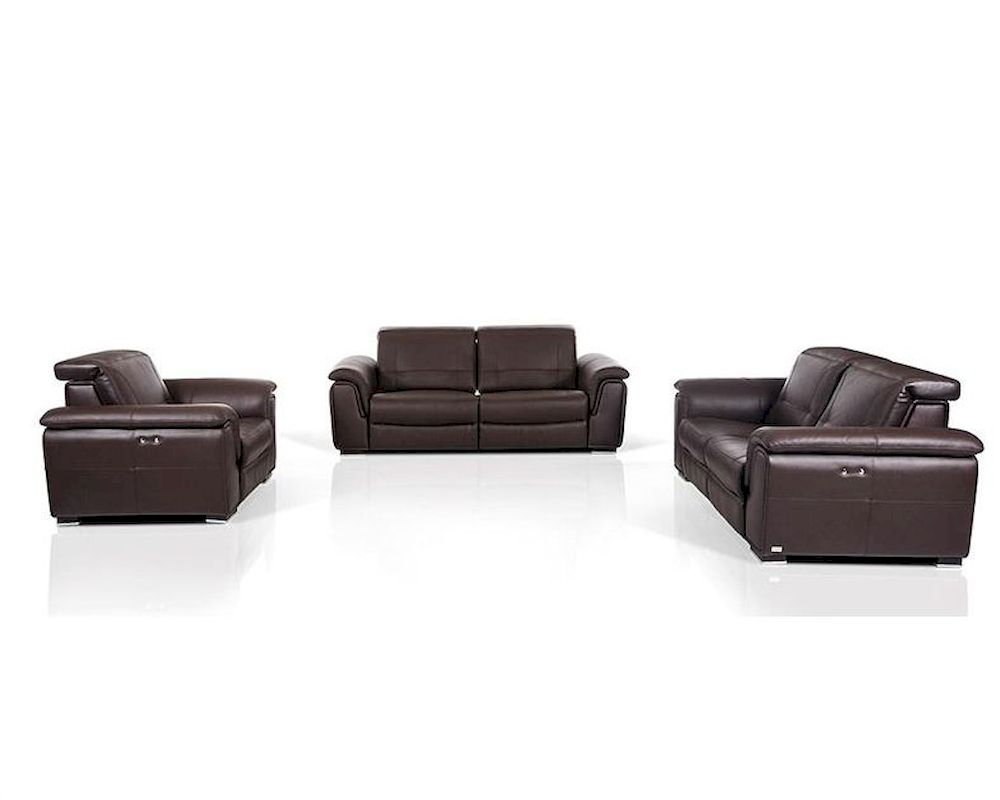 Contemporary Brown Leather Sofa Set W Electric Recliners 44l5978
