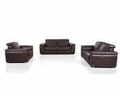 Contemporary Brown Leather Sofa Set w/ Electric Recliners 44L5978