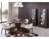Contemporary Brown Marble Dining Set w/ Round Table 44D550T-SET