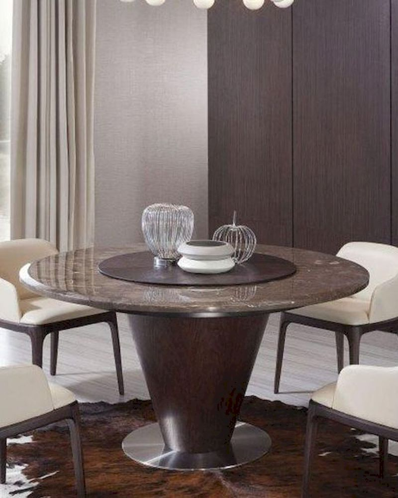 contemporary brown marble round dining table 44d550t. Black Bedroom Furniture Sets. Home Design Ideas