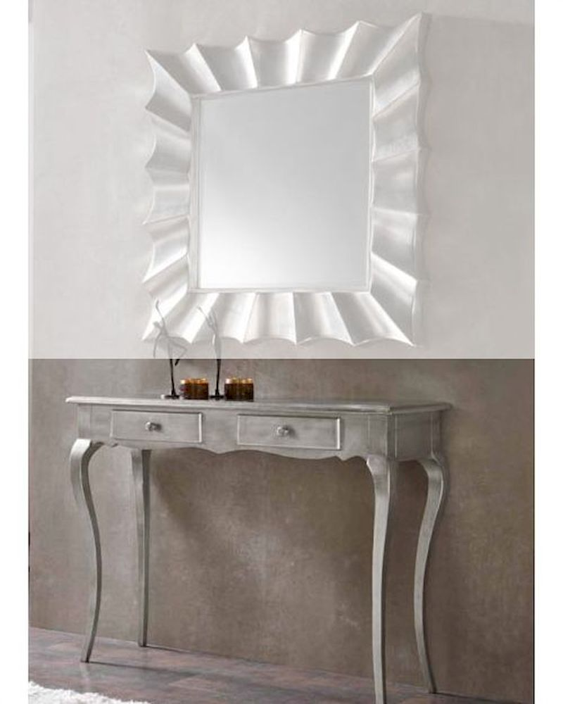 Contemporary Console Table and Mirror 33C42 & Modern Console Table and Mirror Set in Silver Finish 33C61