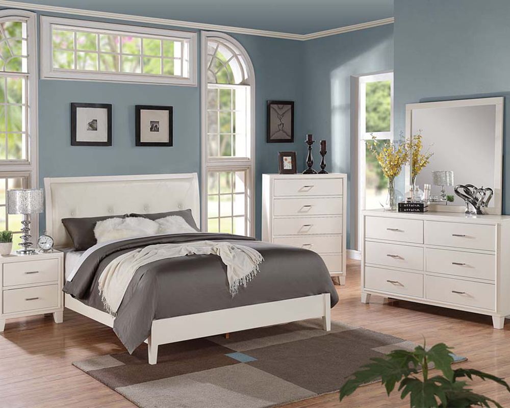 Contemporary Cream Bedroom Set Tyler by Acme Furniture ...