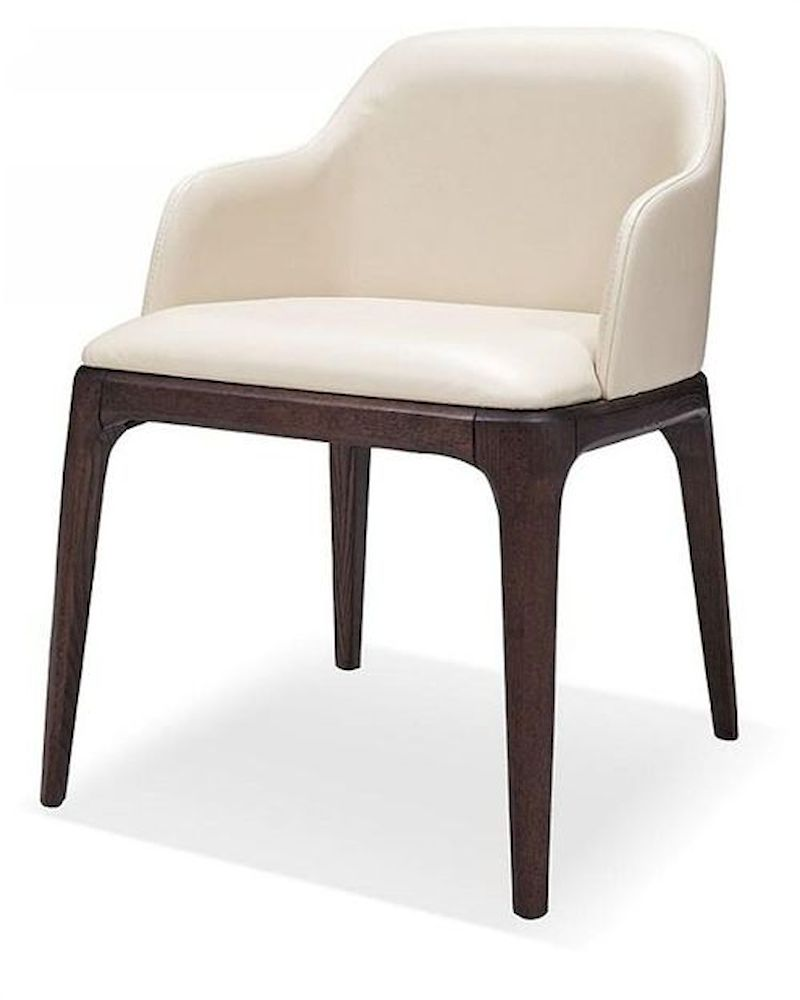 Contemporary cream eco leather dining chair 44d537y for Contemporary leather dining chair