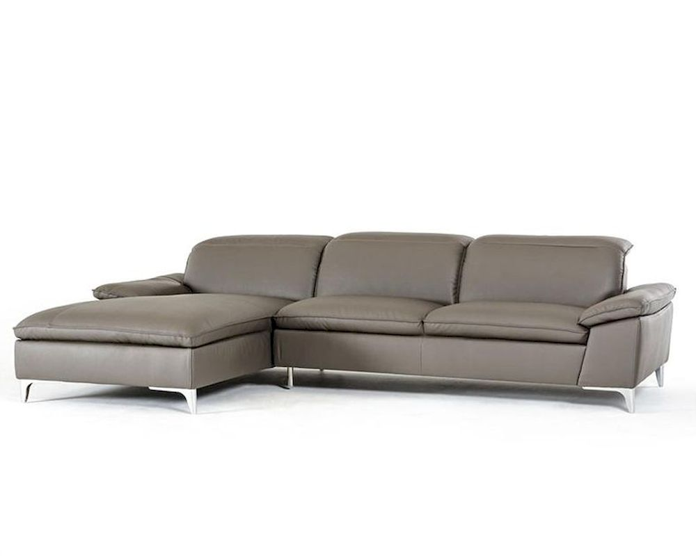 Contemporary Dark Grey Eco Leather Sectional Sofa 44l5924