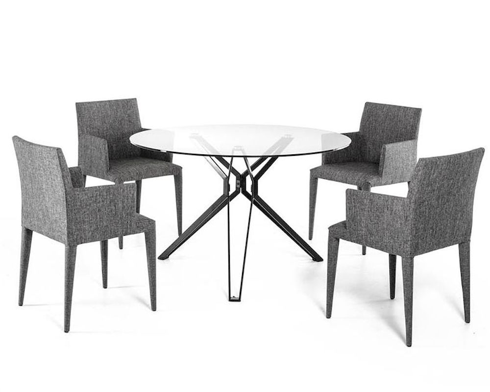 Contemporary dining set w glass round table 44d6105set for Glass top dining table next