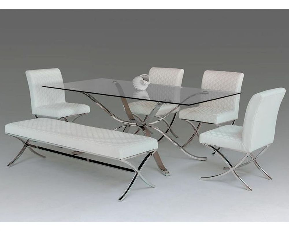 Contemporary dining set w glass top table 44d1101 20 set for Dining table set glass top