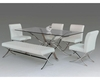 Contemporary Dining Set w/ Glass Top Table 44D1101-20-SET