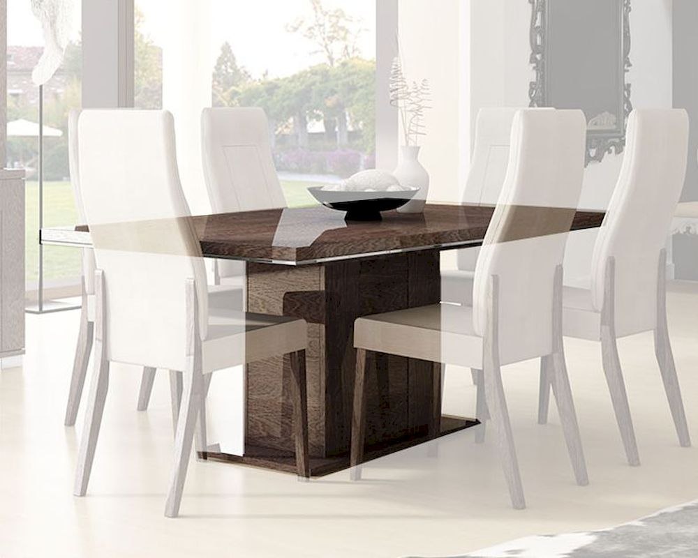 Contemporary Dining Table W 17in Extension Leaf 33d502