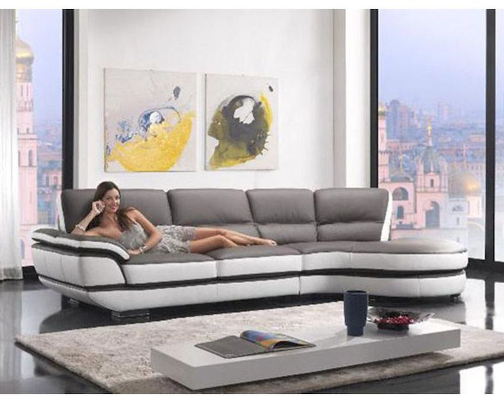 european style ecoleather sectional sofa 44l6068 - Leather Sectional Couch