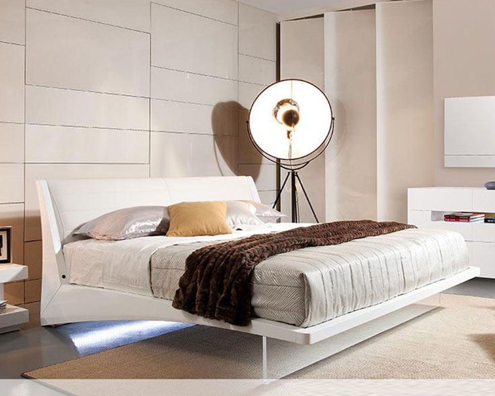 Contemporary Floating Bed W Lights 44b142bd