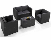 Contemporary Four-Piece Outdoor Black Sofa Set 44PH76