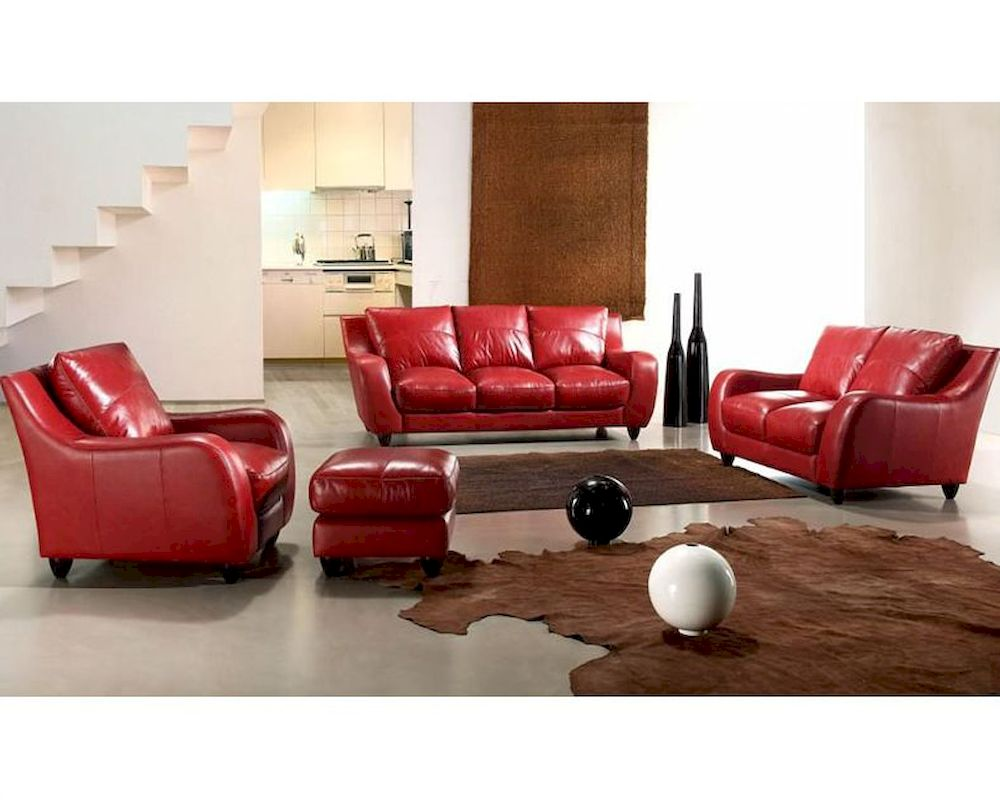 Contemporary full leather red sofa set 44l2540 red for Red living room furniture