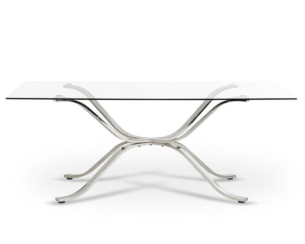 Contemporary glass top dining table 44d1101 20 for Glass top dining table next