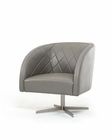 Contemporary Grey Italian Leather Lounge Chair 44O769-GRY
