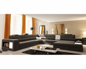 Contemporary Grey/ White Leather Sectional Sofa w/ Lights 44L5022-GR