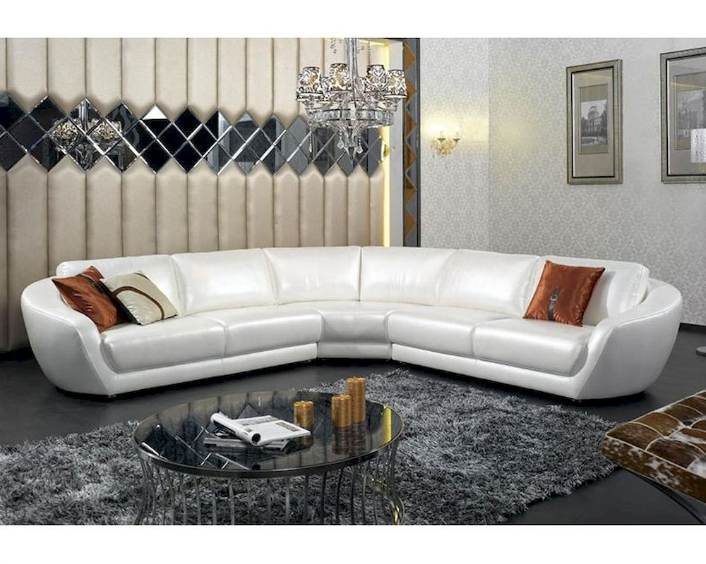Contemporary Italian Pearl Leather Sectional Sofa 44L6099