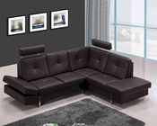 Contemporary Leather Sectional Sofa in Brown 44L6020