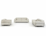 Contemporary Light Grey Leather Sofa Set 44L5954
