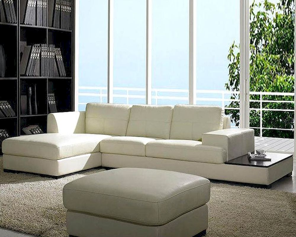 Contemporary low profile leather sectional sofa set 44lbo3893 for Low living room furniture