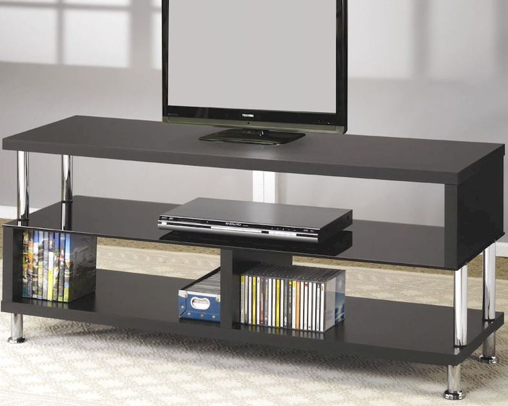 Contemporary media console with glass and chrome accents Modern media console