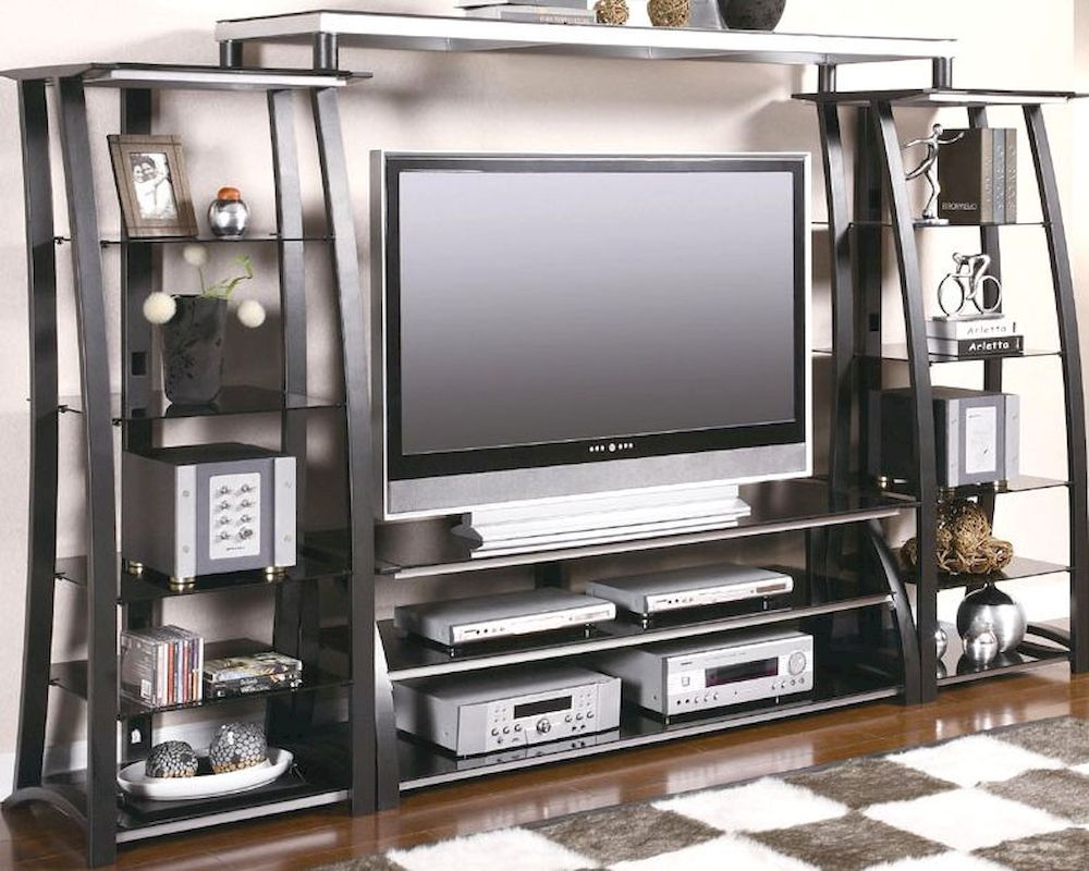 Contemporary Metal And Glass Wall Unit CO700681u