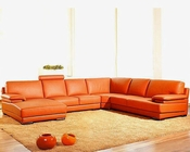 Contemporary Orange Leather Sectional Sofa Set 44L2227