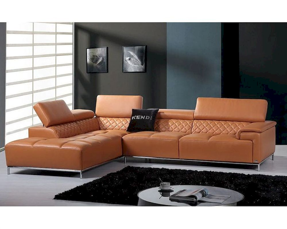 Contemporary orange leather sectional sofa w audio system for Contemporary orange sectional sofa