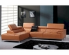 Contemporary Orange Leather Sectional Sofa w/ Audio System 44L5974