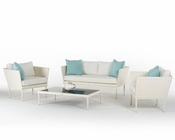 Contemporary Outdoor White Wicker Sofa Set 44P206-SET