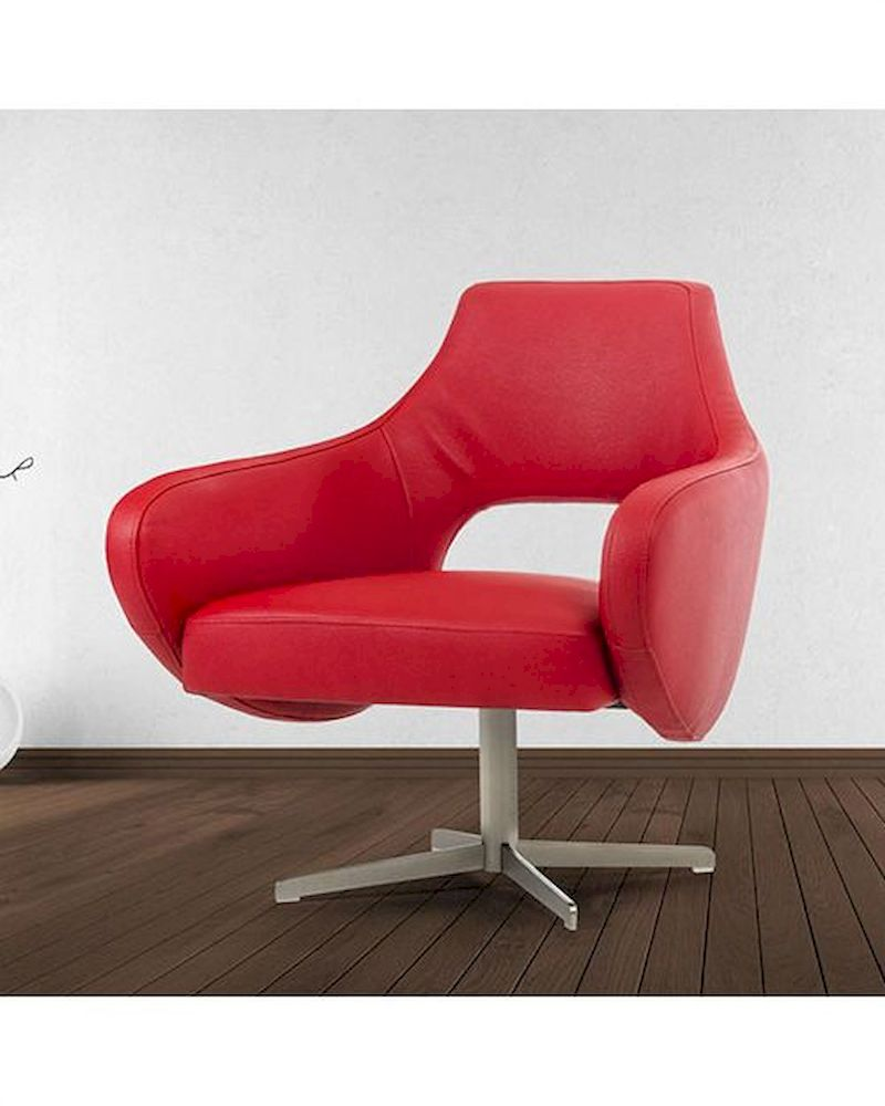 Contemporary red eco leather lounge chair 44o755 red for Modern leather club chairs