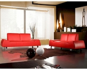Contemporary Red Leather Sofa and Love Seat 44L6075