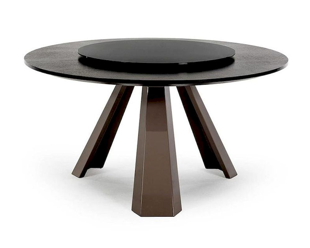 contemporary round wenge table w glass lazy susan 44d8958 3. Black Bedroom Furniture Sets. Home Design Ideas