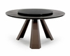 Contemporary Round Wenge Table w/ Glass Lazy Susan 44D8958-3