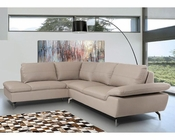 Contemporary Sectional Sofa in Grey Leather 44L5990