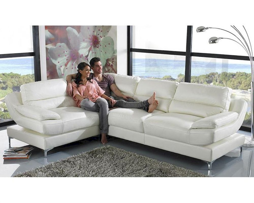 Sofa Contemporary Style Light Grey Leather Sectional Sofa In
