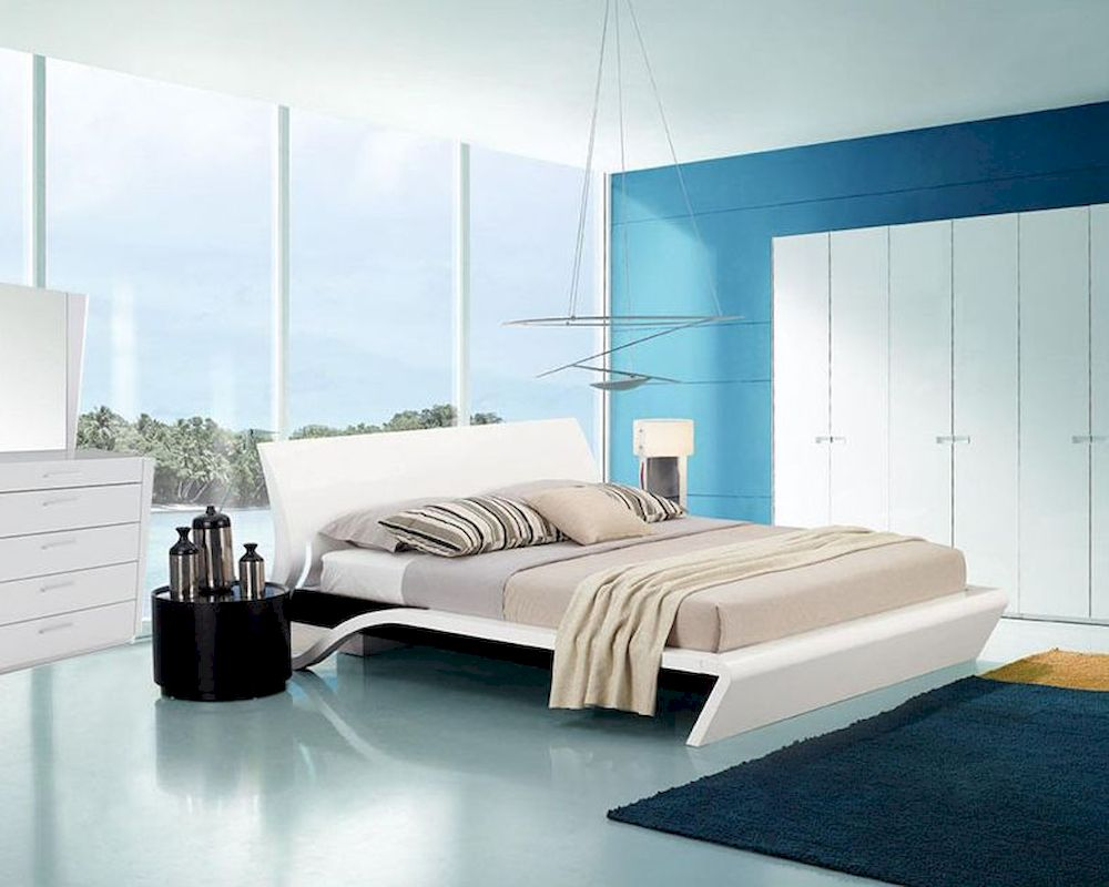Contemporary Style Glossy Bedroom Set W Platform Bed